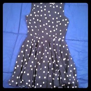 Maison Jules Navy Polka Dot Dress